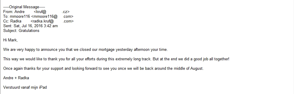 Mark Moore Mortgage - very happy closing